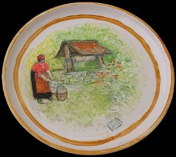 Reg Gammon Pottery Plate Dish Woman At A Water Well